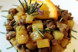 Spezzatino rivisitato con zafferano, vernaccia e arancia