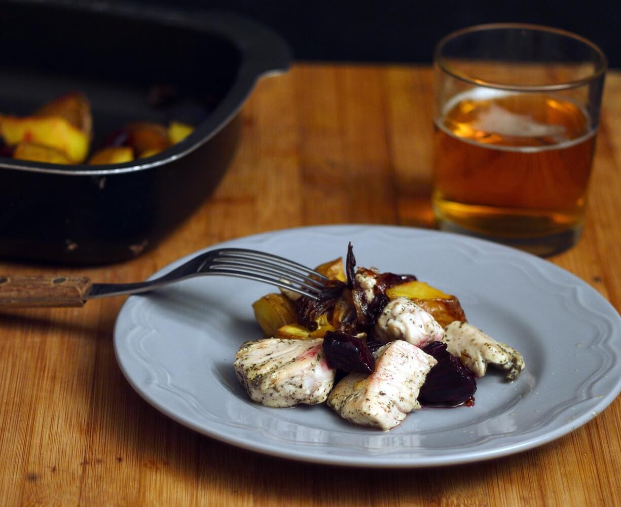 Ricetta del Pollo al timo con verdure di stagione