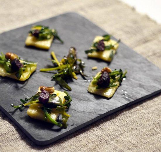 Polentine con Broccolo diolaro e Boudin