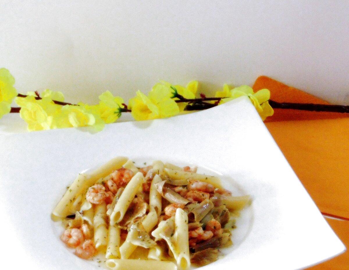 Ricetta Pasta con carciofi e gamberetti