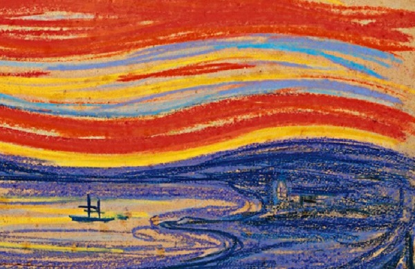 Edvard Munch, Scream red sky and sail boat