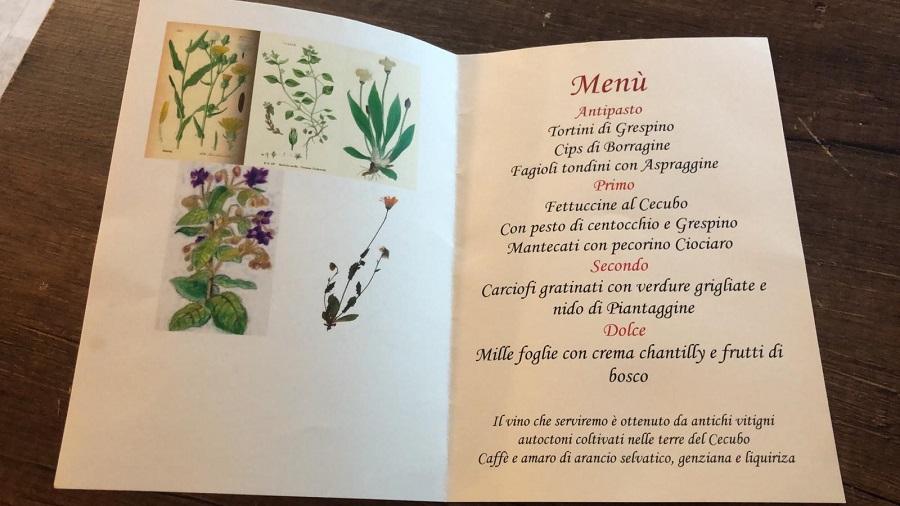 Menù della Cena con erbe di campo all'Osteria Il Brigante