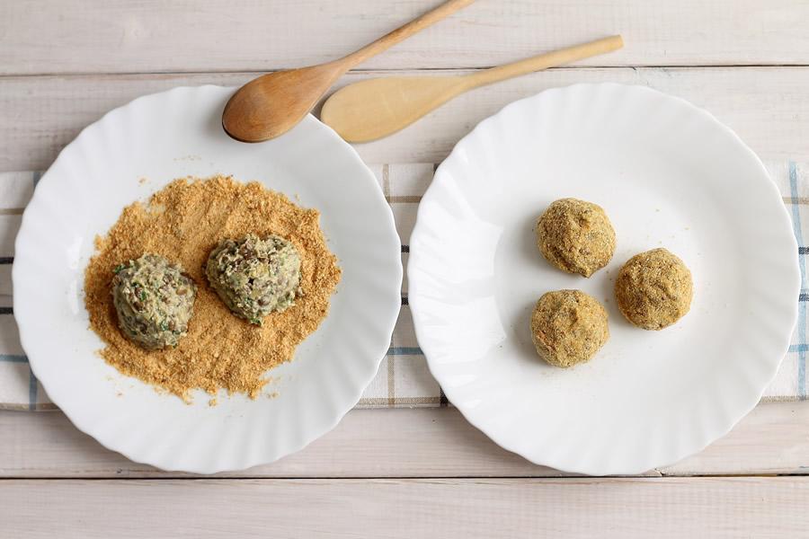 Impanatura delle Polpette vegetariane con spezie
