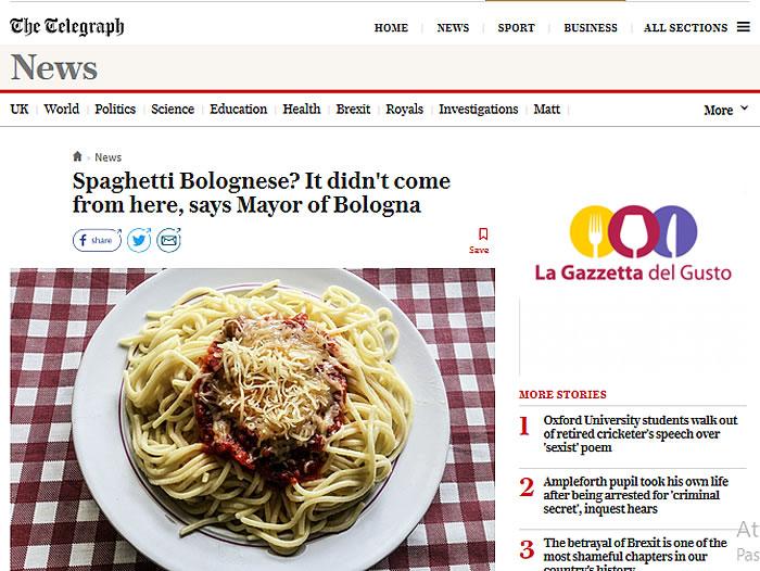 Spaghetti alla bolognese sul Telegraph
