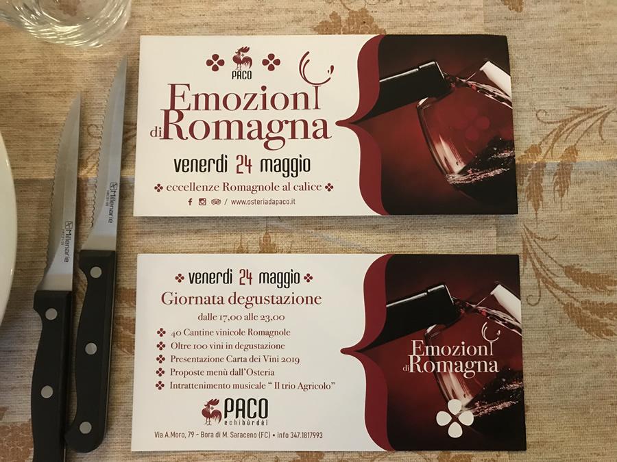 Osteria Paco, presentazione della carta dei vini