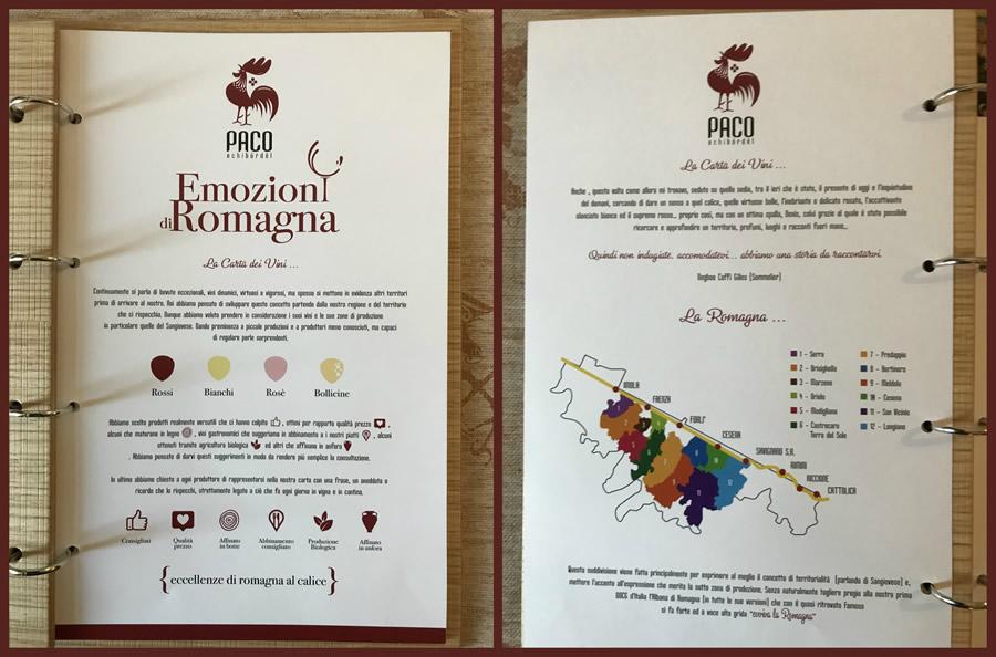 Carta dei vini dell'Osteria Paco