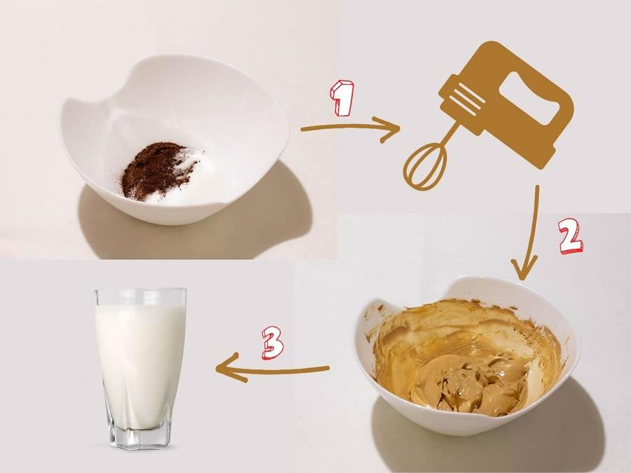 Fasi di preparazione Dalgona coffee