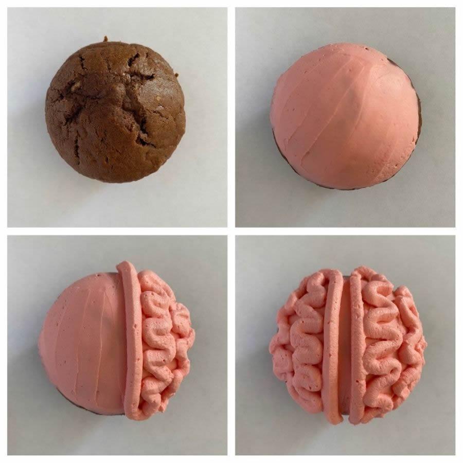Muffin a forma di cervello pr Halloweeen