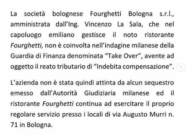 Sequestro Fourghetti, nessun provvedimento per il ristorante